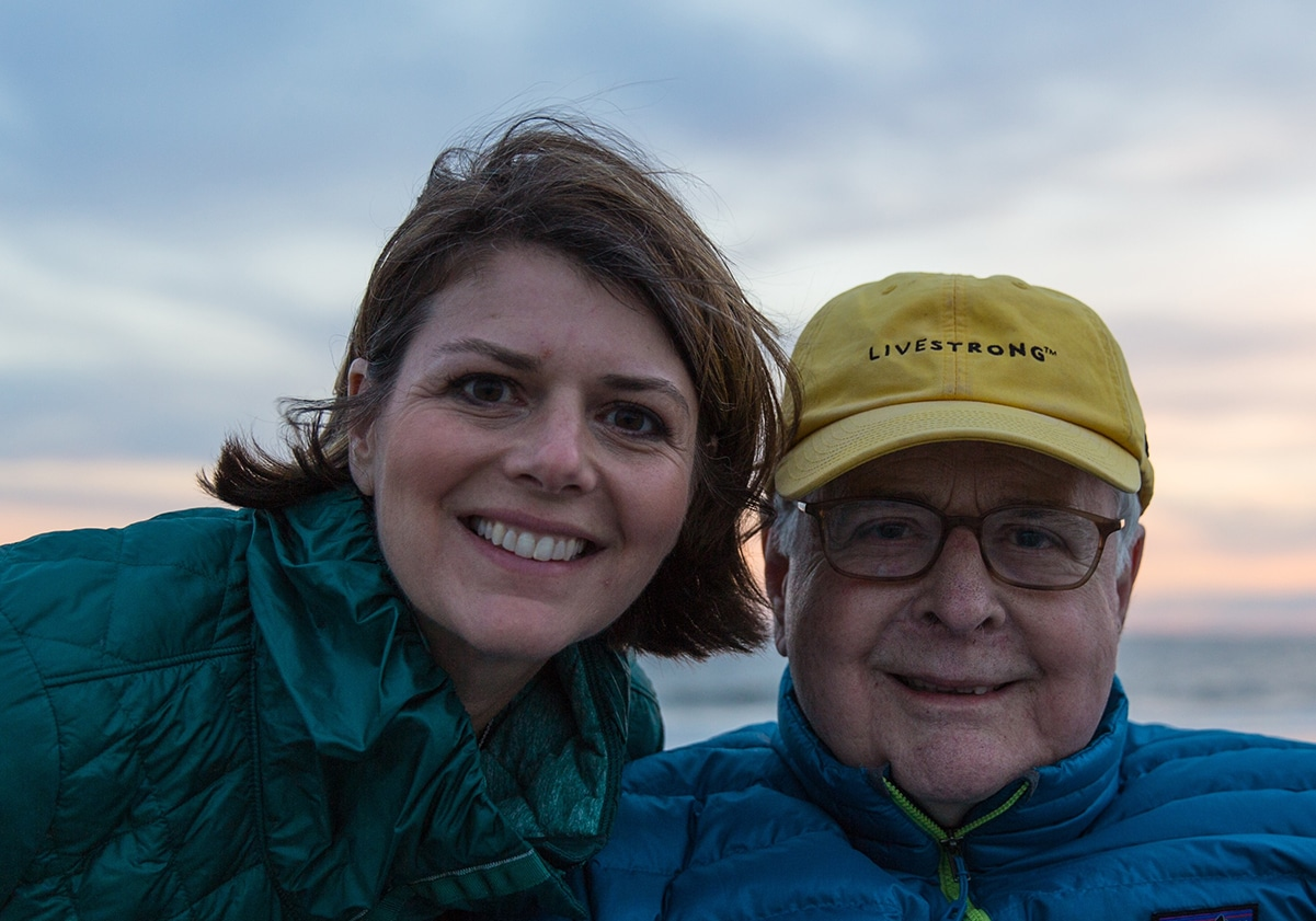 Dr. Amy Myers and her Father James T. Myers pose for a photo on the beach