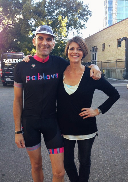 Pablove founder Townsand and sister Dr. Amy Myers pose for a photo at a charity event.
